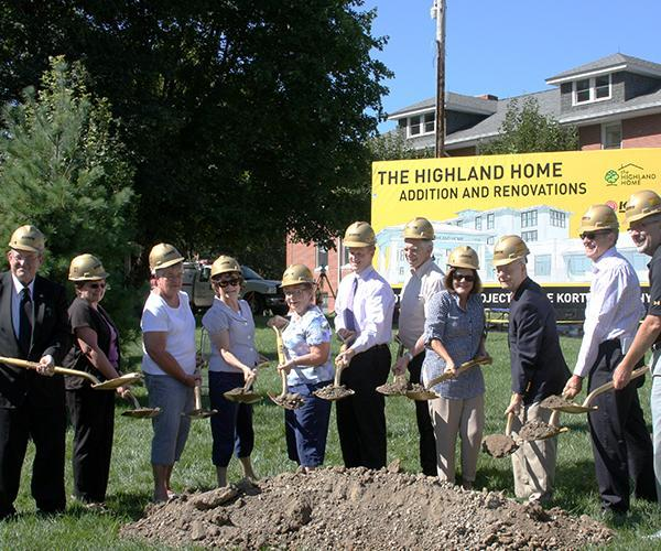 Ground breaking ceremony for senior living construction at The Highland Home