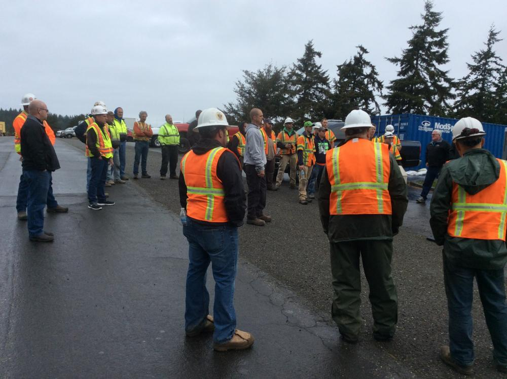 Construction workers receiving safety training from The Korte Company during a safety stand down. The Korte Company led 12 safety stand downs as part of OSHA's National Safety Stand Down for Falls in Construction campaign
