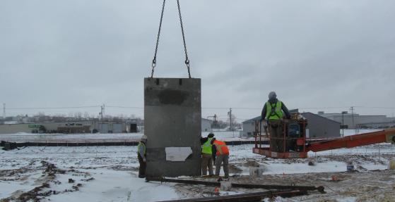 Distribution center construction: building walls with