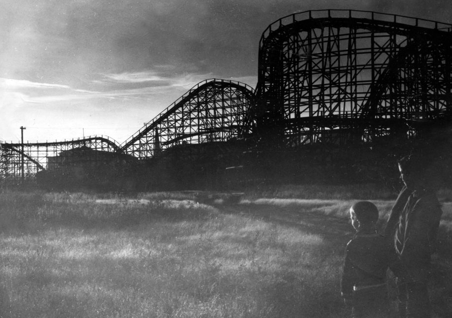 Boys gazing at the Forest Park Highlands Comet rollercoaster