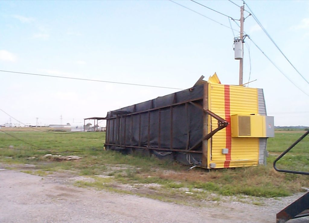 job trailer high winds tipped over