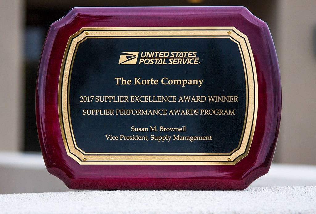 USPS Supplier Excellence Award to The Korte Company