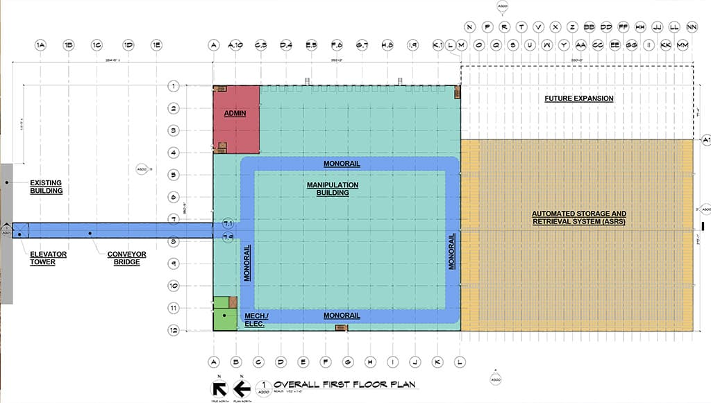 Processing facility warehouse layout