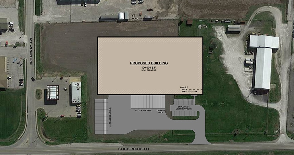 Alternative site plan for proposed warehouse layout